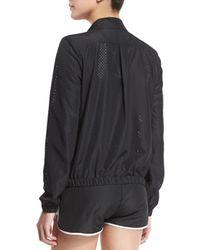 Heroine Sport - Black Mesh Training Jacket W/contrast Stripe - Lyst