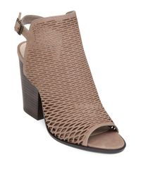 Vince Camuto | Brown Madesti Leather Laser-cut Open-toe Sandals | Lyst