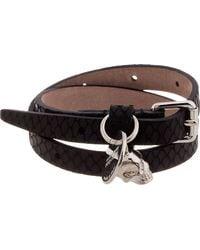 Alexander McQueen - Black Snakeskin Wrap Bracelet for Men - Lyst