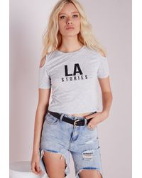Missguided Gray Cold Shoulder La Cropped T Shirt Grey