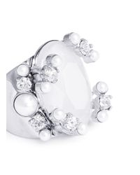 Givenchy White Faux Pearl Strass Gemstone Ring