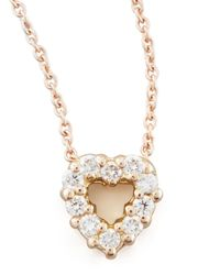 Roberto Coin | Pink Rose Gold Diamond Heart Pendant Necklace | Lyst