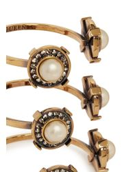 Alexander McQueen - White Military Faux Pearl Strass Triple Brass Cuff - Lyst