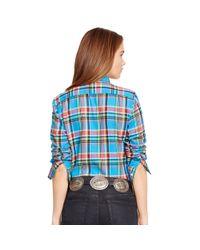 Polo Ralph Lauren | Blue Plaid Cotton Twill Shirt | Lyst