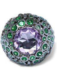 Stephen Dweck | Green Silver Tsavorite Amethyst Orb Ring | Lyst