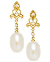Macy's | Metallic Cultured Freshwater Pearl (7mm) Drop Earrings In 14k Gold | Lyst