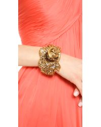 Oscar de la Renta - Metallic Carved Rose Bracelet - Lyst