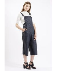 TOPSHOP Blue Pu Pinafore All-in-one