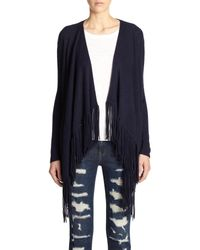 360cashmere - Blue Dominique Cashmere Fringed Draped Cardigan - Lyst