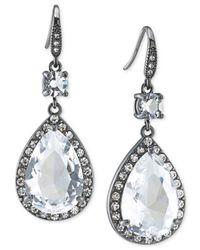 Carolee | Metallic Hematite-tone Crystal Double-drop Earrings | Lyst