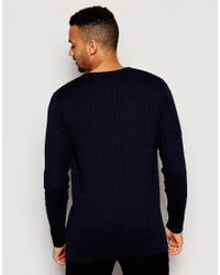 Jack & Jones | Blue Cable Knit Jumper for Men | Lyst