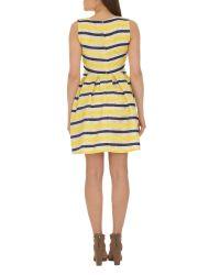 Cutie | Yellow Textured Stripe Dress | Lyst