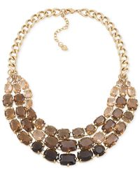 Carolee | Brown Gold-Tone Stone Drama Statement Necklace | Lyst