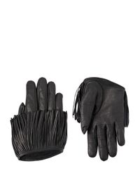 DSquared² - Black Fringed Nappa Leather Gloves - Lyst