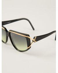 Valentino Black Rectangular Frame Sunglasses