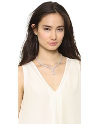 Kenneth Jay Lane | Metallic Riviere Y Drop Necklace Clear | Lyst