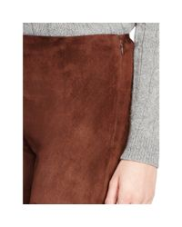 Ralph Lauren Black Label | Brown Stretch-suede Abbey Pant | Lyst