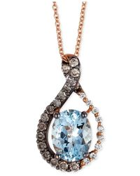 Le Vian | Blue Aquamarine (1-3/8 Ct. T.W.) And Diamond (3/8 Ct. T.W.) Pendant Necklace In 14K Rose Gold | Lyst