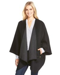 MICHAEL Michael Kors | Black Two-tone Wool Blend Cape | Lyst