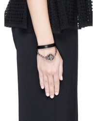 Alexander McQueen - Black Harness Skull Leather Bracelet - Lyst