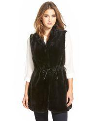 Vince Camuto | Black Drawstring Waist Faux Fur Vest | Lyst