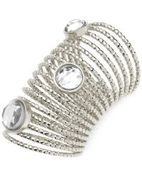 Guess - Metallic Silver-tone Crystal Multi-row Ring - Lyst