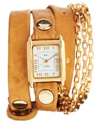 La Mer Collections | Metallic Tan Gold Wrap Around Watch | Lyst