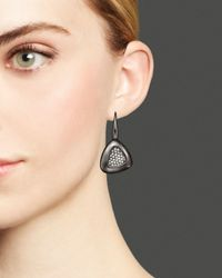Roberto Coin - Metallic Sterling Silver Ruthenium Plated Capri Plus Earrings With Diamonds - Lyst