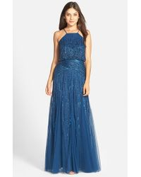 Adrianna Papell | Blue Beaded Blouson Gown | Lyst