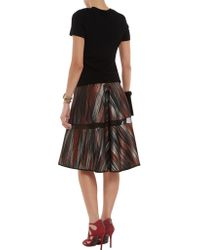 Ostwald Helgason Purple Metallic Jacquard Skirt