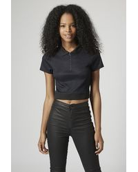 TOPSHOP Blue Knitted Polo Crop Top