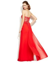 Xscape - Red Embellished Illusion Lace Strapless Gown - Lyst