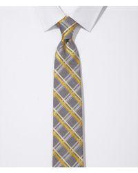 Express Yellow Narrow Silk Blend Tie Grid for men