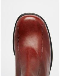 Vagabond Purple Tyra Staked Platform Burgundy Leather Ankle Boots