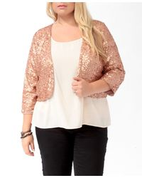 Forever 21 - Metallic Plus Size Cropped Sequined Jacket - Lyst