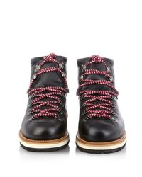 Moncler Black Lace-Up Leather Ankle Boots