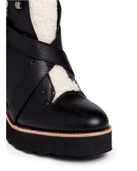 COACH Black 'kenna' Shearling Leather Wedge Boots