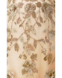 Marchesa | Metallic Embroidered Floral Halter Neck Gown | Lyst