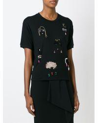 Lanvin - Black Embellished T-shirt - Lyst