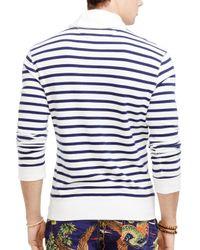 Ralph Lauren White Polo Atlantic Stripe Terry Shawl Pullover for men