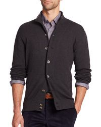 Saks Fifth Avenue | Gray Pima Cotton Knit Cardigan for Men | Lyst