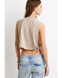Forever 21 - Brown Distressed Muscle Tee - Lyst