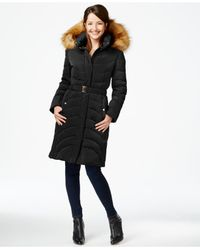 Jones New York | Black Faux-fur-hood Down Belted Puffer Coat | Lyst