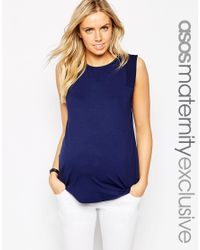 ASOS | Blue Maternity Textured Panel Vest | Lyst