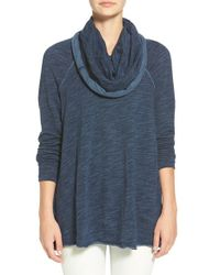 Free People Blue 'beach Cocoon' Cowl Neck Pullover