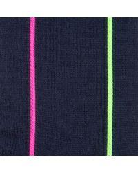 Paul Smith Blue Men's Neon Vertical Striped Navy Socks for men
