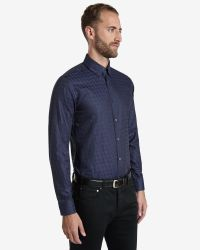 Ted Baker | Blue Dogtooth Print Shirt for Men | Lyst
