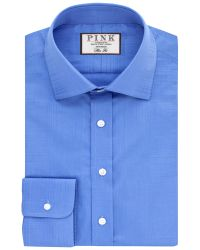Thomas Pink Blue Terrance Textured Slim Fit Shirt for men