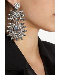 Kenneth Jay Lane Metallic Silver-Plated Crystal Clip Earrings