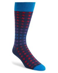 Hook + Albert - Blue 'smoke N Mirrors' Houndstooth Socks for Men - Lyst